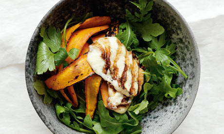 grilled carrot and halloumi